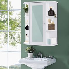 Home Bathroom Wall Mount Cabinet Single Mirror Door Shelves Storage Unit White Wall Mounted Cabinet, Door Shelves, Wall Shelves, Single Doors, Bathroom Wall Cabinets White, Mirror Door, Bathroom Wall Cabinets, Wood Bathroom Cabinets, Wall Mounted Medicine Cabinet