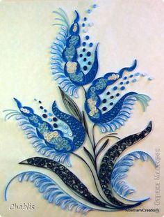 Картина панно рисунок Квиллинг По мотивам гжельской росписи или бело-голубой орнамент Бумажные полосы фото 1