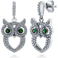 BERRICLE Sterling Silver CZ Owl Fashion Dangle Drop Earrings ($48) ❤ liked on Polyvore featuring jewelry, earrings, dangle earrings, green, women's accessories, green earrings, sterling silver drop earrings, green dangle earrings, sterling silver earrings and cubic zirconia drop earrings