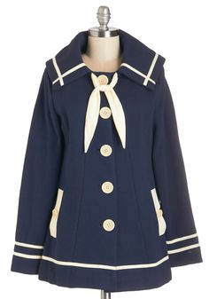 Vintage Coats Quiet on the Quay Coat. While strolling along the windswept wharf, your hands snug in the side pockets of this nautical-inspired navy coat, you take a moment to enjoy the calming sounds of the sea. Vintage Coat, Retro Vintage, Navy Coat, Sailor Fashion, Coat Sale, Cute Jackets, Nautical Fashion, 1950s Fashion, Coats For Women