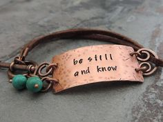 Be Still and Know Bracelet Christian Jewelry Copper and Leather Bracelet Religious Jewelry Bible Verse Psalm 46:10