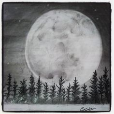 moon sketch drawings sketches pencil easy night realistic drawing clouds painting doodle wolf