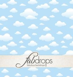 Cute Clouds Photography Backdrop With Blue Sky FD5063 by FabDrops