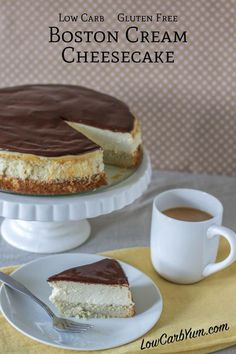 Boston Cream Cheesecake | Low Carb Yum - Nutrition per serving: 347 calories, 32.5g fat, 286mg sodium, 7.8g carb, 3.7g fiber, 2.2g net carbs, 8g protein, 23.2g erythritol