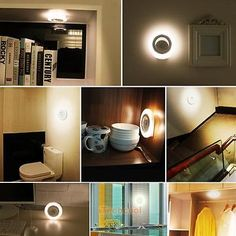 8LED Wireless Motion Sensor Under Cabinet Light Wall Closet Lamp Battery Powered