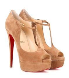 CHRISTIAN LOUBOUTIN Altapoppins 150 Suede Platform Peep-Toe Pumps. #christianlouboutin #shoes #pumps