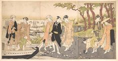 Picking Clams, Utagawa Toyokuni I (Japanese, 1769–1825), Triptych of polychrome woodblock prints; ink and color on paper, Japan