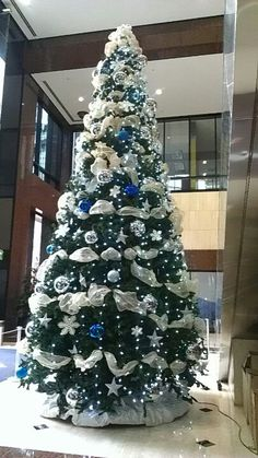 20 ft. Artificial tree. This tree is decorated with sliver, blue and white ornaments and Gold mesh ribbon makes it complete.
