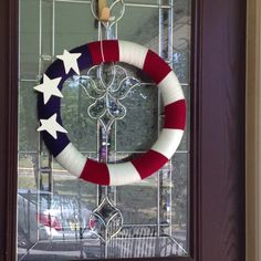 Flag yarn wrapped wreath.