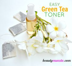 Green tea toner All you need is a bag of green tea and a cup of distilled/filtered water and you're good to go!