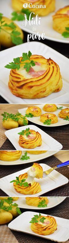 I nidi di purè con prosciutto e mozzarella #Mozzarella #Ricette #Cibo #Cucina #Natale #Regali #Cucinare