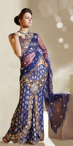 Blue lehenga saree with brocade skirt and blouse - Indian Sarees, Blouse and Apparel Online Shopping Lehenga Style Saree, Blue Lehenga, Lehenga Saree, Indian Attire, Indian Wear, Indian Outfits, Indian Clothes, Indian Style, Indian Dresses Online