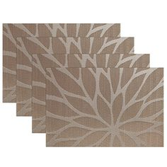SiCoHome Placemats Dining Room Placemats for Table Heat Insulation Stainresistant Woven Vinyl Kitchen PlacematsSet of 4Lotus Leaf Brown -- Visit the image link more details. Note:It is affiliate link to Amazon.