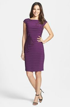 Adrianna Papell Lace Appliqué Banded Jersey Sheath Dress | Nordstrom