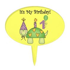 Turtle First Birthday Cake Topper