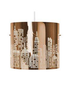 modern chrome new york skyline pendant ceiling shade hallway