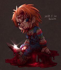 Chucky Movies, Chucky Horror Movie, All Horror Movies, Horror Movie Characters, Scary Movies, Horror Films, Horror Icons, Horror Art, Scary Chucky