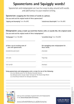 Spoonerisms and Squiggly words! Download our phizz-whizzing Oxford Roald Dahl Dictionary activity sheets now! #RoaldDahlDay #DahlDictionary Dictionary Activities, Roald Dahl Day, Activity Sheets, Creative Writing, Oxford, English, Letters, Education, Words