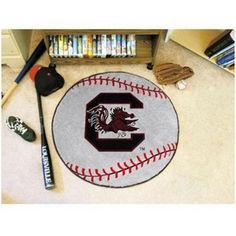 South Carolina Gamecocks Baseball Shaped Area Rug Floor Mat #Gamecocks #JockUniversity #GoCocks #SouthCarolinaGamecocks