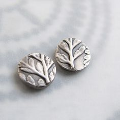 Fine Silver PMC Earrings Fern Impression | by Lynn_EL/UnaOdd