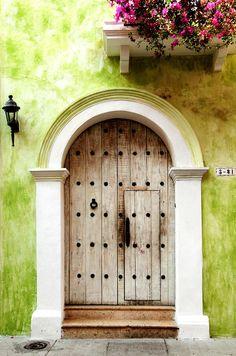 Old World Doors from Cartagena, Colombia. Cool Doors, Unique Doors, Portal, Entrance Doors, Doorway, When One Door Closes, Door Gate, Closed Doors, Windows And Doors
