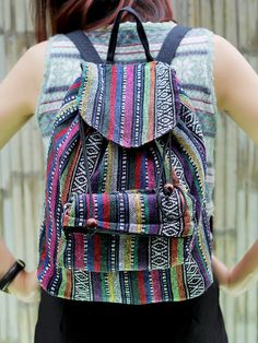 Ikat Abstract tribal native design backpack  School Bag  Ethnic rucksack   holiday bag   4ca5faf1125a2