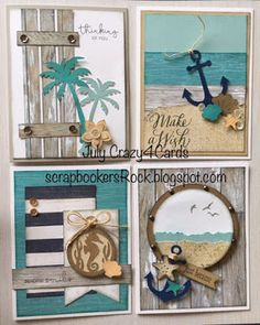 Handmade set of 4 cards with a beach/tropical theme - Close to My Heart - No Worries