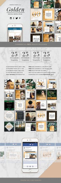 GOLDEN Theme   Social Media Pack by Marigold Studios on @creativemarket