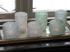 Epsom Salt Luminaries - in sea glas colors