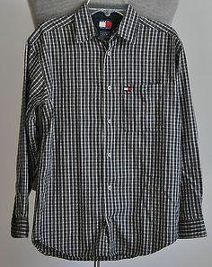 Boy's Tommy Hilfiger Dress Shirt 100% Cotton Blue Plaid Size Medium Long Sleeve
