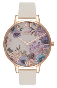Free shipping and returns on Olivia Burton Enchanted Garden Faux Leather Strap Watch, 38mm at Nordstrom.com. A shiny polished watch case is overgrown with lush roses and poppies, turning every moment into one of feminine grace and vintage charm.