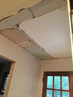 Upstairs hallway ceiling drywall after day 1 - 9/23 78c