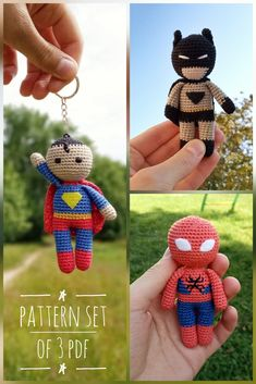Superhero Doll Pattern - Set of 3 PDF - Crochet Pattern Super Hero - Marvel Crochet Pattern - Amigurumi PDF Crochet Teddy, Crochet Dolls, Crochet Baby, Crochet Classes, Crochet Projects, Crochet Superman, Loom Yarn, Crochet Doll Tutorial, Crochet Keychain