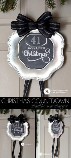 Christmas Countdown Chalkboard Charger Plate | #madewithmichaels @michaelsstores Pinterest Party #michaelsmakers