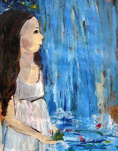 A magical moment of connection with nature Girl near the blue waterfall Art by Independent Artists. Fine Art Prints, Canvas Prints, Online Art, Waterfall, Original Art, Paintings, Artist, Nature, Artwork