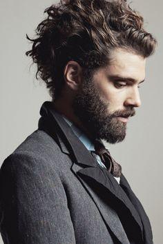 wavy hair + beard