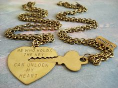 Couples lock and key necklaces