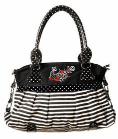 BANNED NAUTICAL bag 50's POLKA shoulder HANDBAG BLACK | eBay