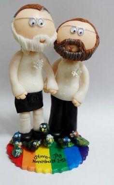 Personalized handmade custom LGBT Gay/Lesbian/Civil partnership wedding cake topper figurines by Googly Gifts wedding cake toppers | Hatch.c... #Personalized #Wedding