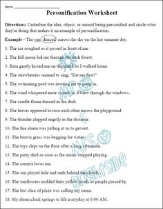 Worksheets Personification Worksheets personification classroom pinterest poem this is an 18 question worksheet that focuses on students are required to identify