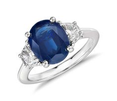 Oval Sapphire and Diamond Ring in Platinum | #Jewelry #Ring #Fashion