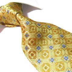Extra Long Seven Fold Silk XL Yellow/Golden Classic Necktie Woven Jacquard Handmade Xl, Paisley Dress, Pocket Squares, Bowties, Neckties, Golden Color, Orange, Yellow, Interview