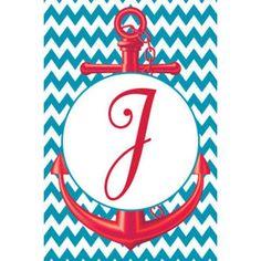 J Chevron Anchor Monogram Double Sided Garden Flag