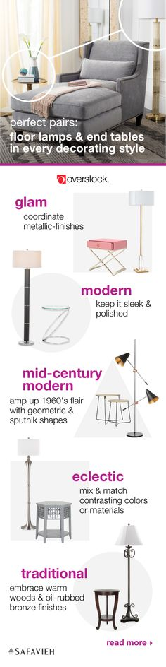 Find everything you need to give your living room a refresh at Overstock.com. This guide will help you coordinate your style to give your home a trendy upgrade. Shop floor lamps and end tables from Safavieh all at Overstock prices, and get inspired with our tips on pairing your furniture and decor.