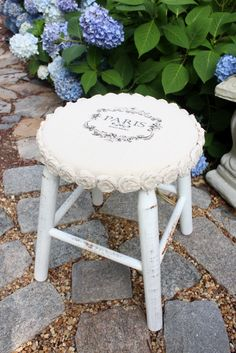 Mini Drop Cloth Rosette Stool Makeover {$5 Yard Sale Find}