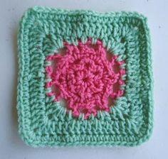 Watermelon Flower Crochet Granny Square