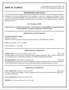 sample resume job resume phlebotomy resume templates