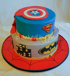 Super Hero birthday cake ~ Baked! by jen 2013  (Original design found on CakeCentral.com, posted by ginger_75833.)