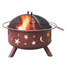 Big Sky Stars & Moons Fire Pit - Georgia Clay Color with Cooking Grate