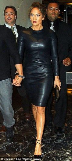 From frumpy cardigan to hell for leather: Jennifer Lopez vamps it up in a sexy skin-tight dress for Broadway date with Casper Smart Jennifer Lopez, Tom Ford Dress, Black Leather Dresses, Leather Fashion, Steampunk Fashion, Gothic Fashion, Celebrity Dresses, Tight Dresses, New York City